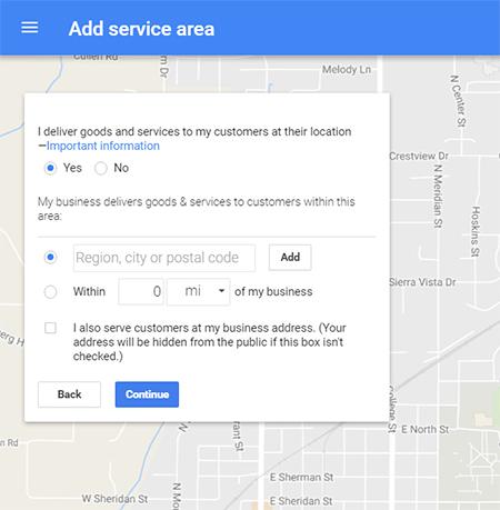 google my business add service area
