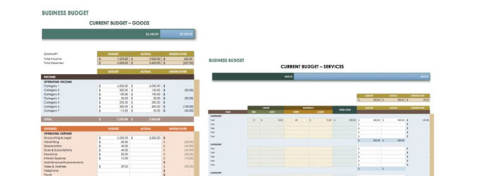 website budget template
