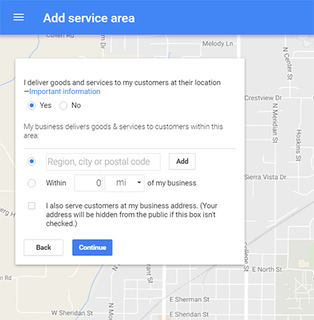 google my business add service area
